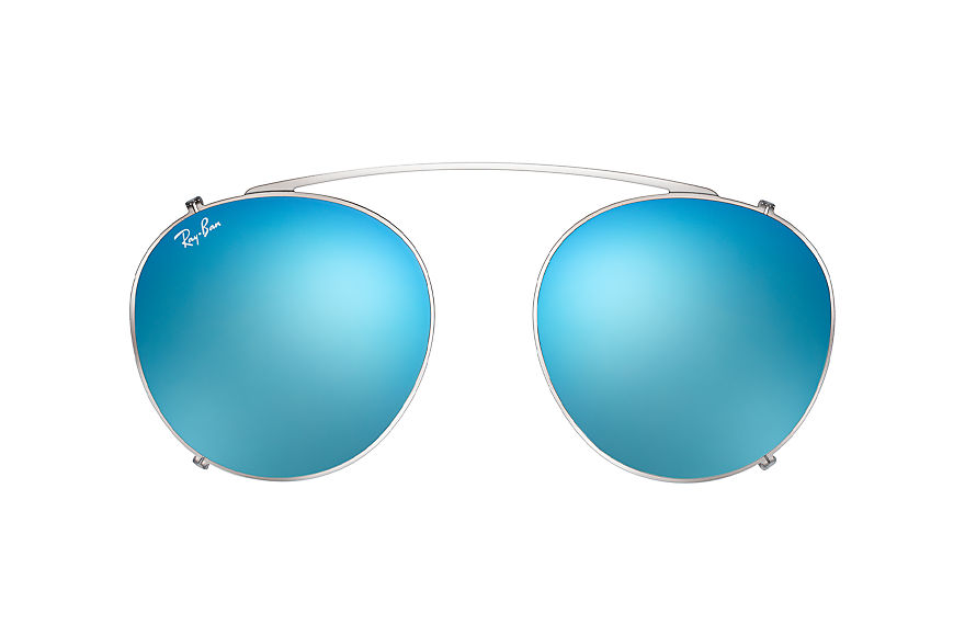 Ray-Ban Round Fleck Clip-on Gunmetal with Blue Gradient Flash lens