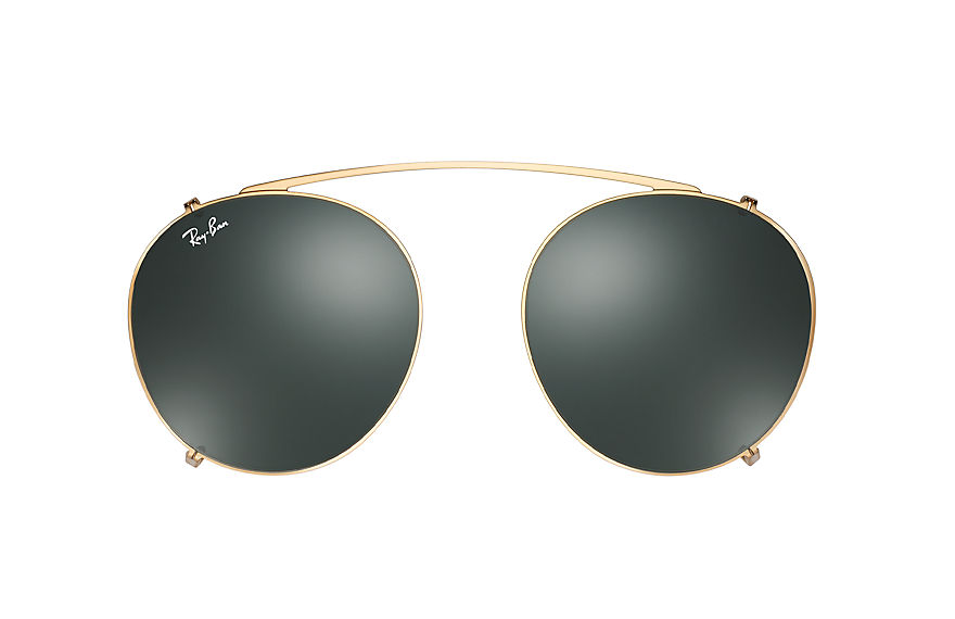 Ray-Ban Round Fleck Clip-on Gloss Gold with Green Classic lens