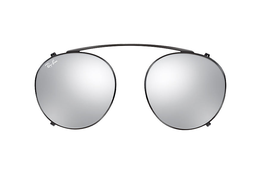 Ray-Ban Round Fleck Clip-on Black with Silver Gradient Flash lens