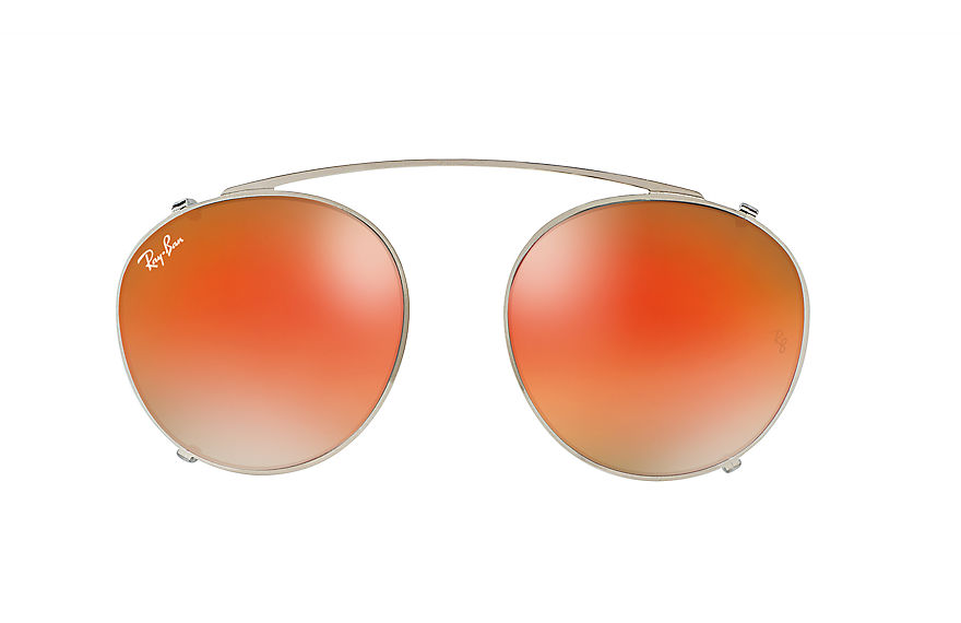 Ray-Ban RB2180 CLIP-ON Silver with Orange Gradient Mirror lens