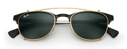 Ray-Ban RB6317 Clip-on Gold with Green Classic lens