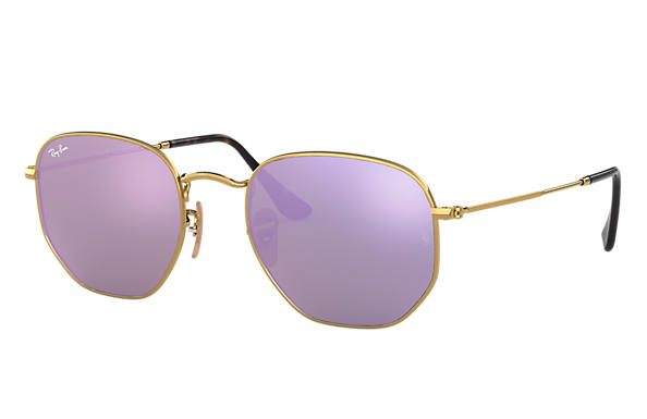Ray-Ban Sunglasses HEXAGONAL FLAT LENSES Gold with Lilac Mirror lens