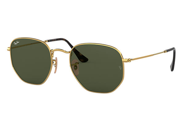 Ray-Ban Sunglasses HEXAGONAL FLAT LENSES Polished Gold with Green Classic G-15 lens