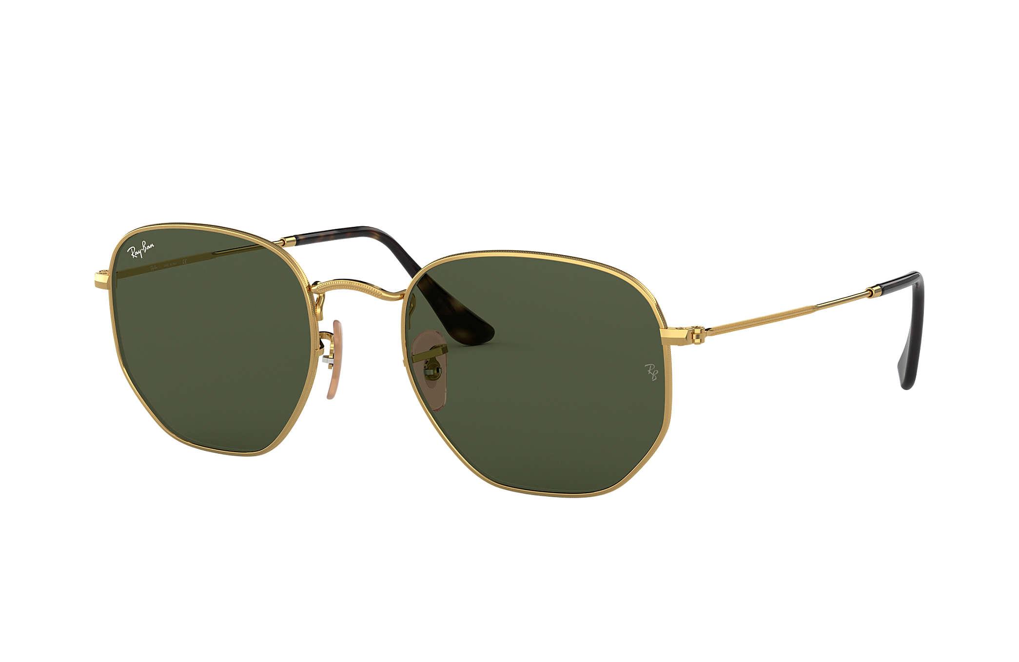 a3a9c03144aae Ray-Ban Hexagonal Flat Lenses RB3548N Gold - Metal - Green Lenses ...