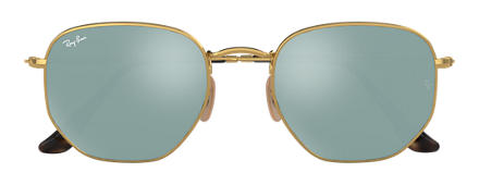 Ray-Ban HEXAGONAL FLAT LENSES Gold with Silver Flash lens