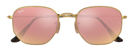 Ray-Ban HEXAGONAL FLAT LENSES Goud met brillenglas Koper Flash