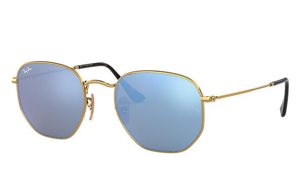 08b9956714 Ray-Ban Hexagonal Flat Lenses RB3548N Gold - Metal - Light Blue ...