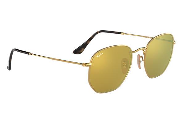 6a027d91551df Ray-Ban Hexagonal Flat Lenses RB3548N Gold - Metal - Yellow Lenses ...