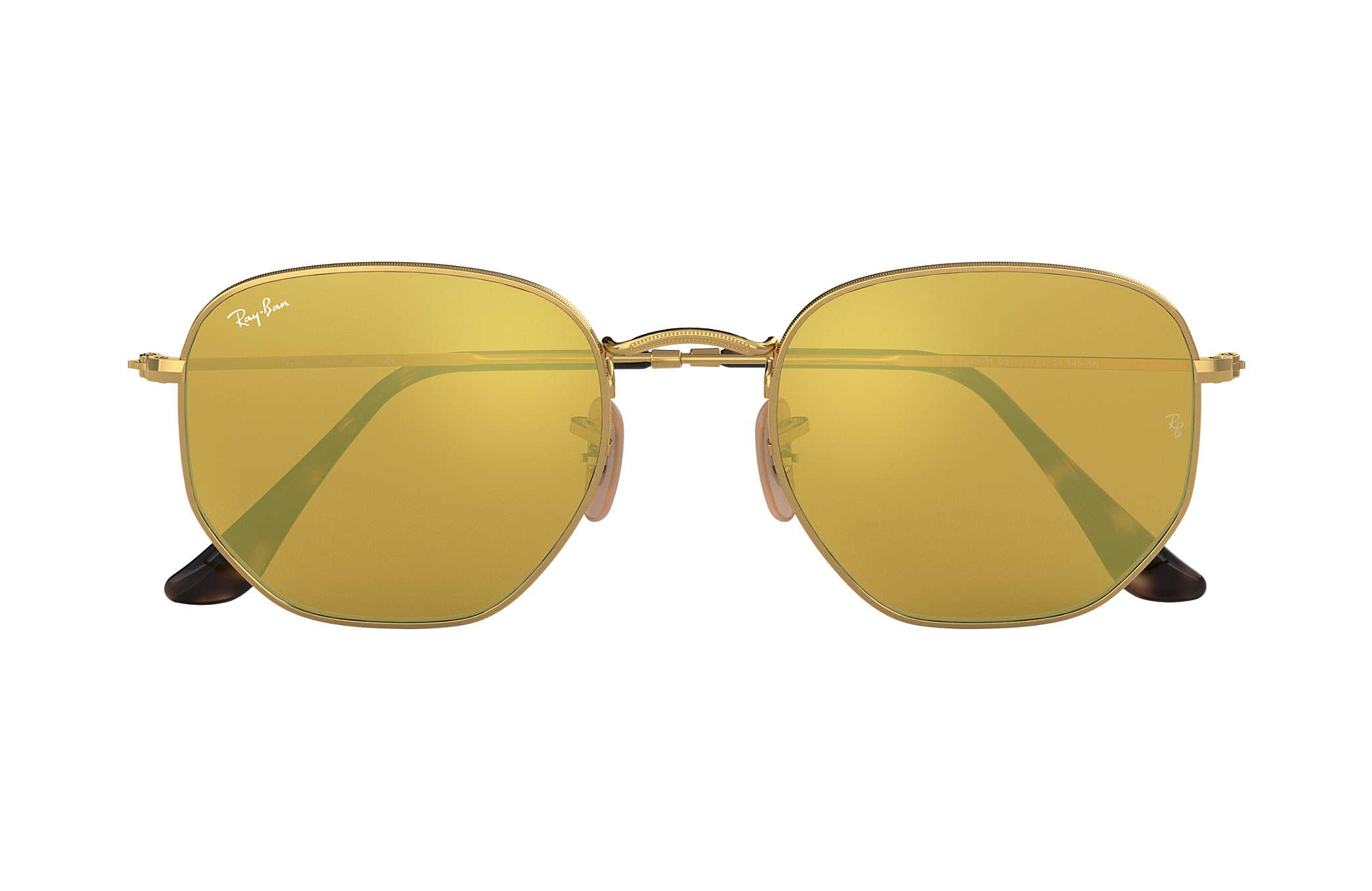 76f31f531b064 Ray-Ban Hexagonal Flat Lenses RB3548N Ouro - Metal - Lentes Amarelo ...