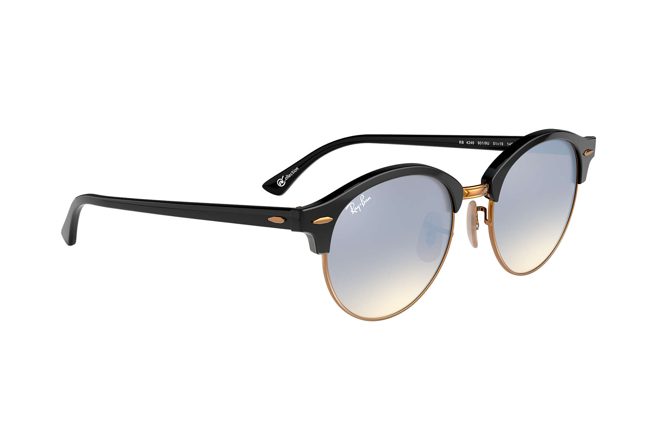 a5f5eb87afe01 Ray-Ban Clubround  collection RB4246 Black - Acetate - Silver Lenses ...