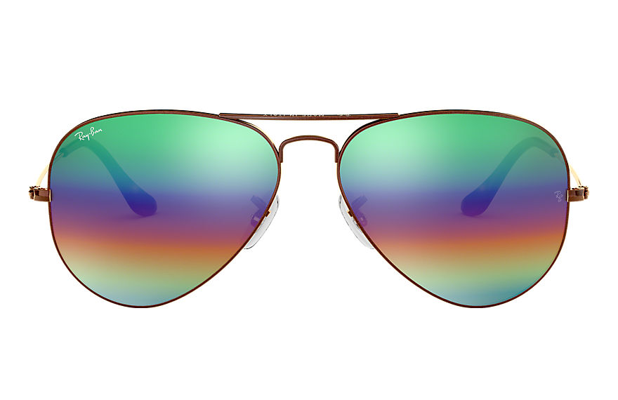 Ray-Ban Sunglasses AVIATOR MINERAL FLASH LENSES Bronze-Copper with Green Rainbow Flash lens