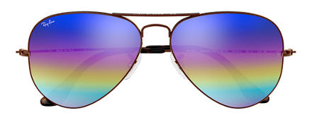 Ray-Ban AVIATOR MINERAL FLASH LENSES Brons-Koper met brillenglas Blue Rainbow Flash