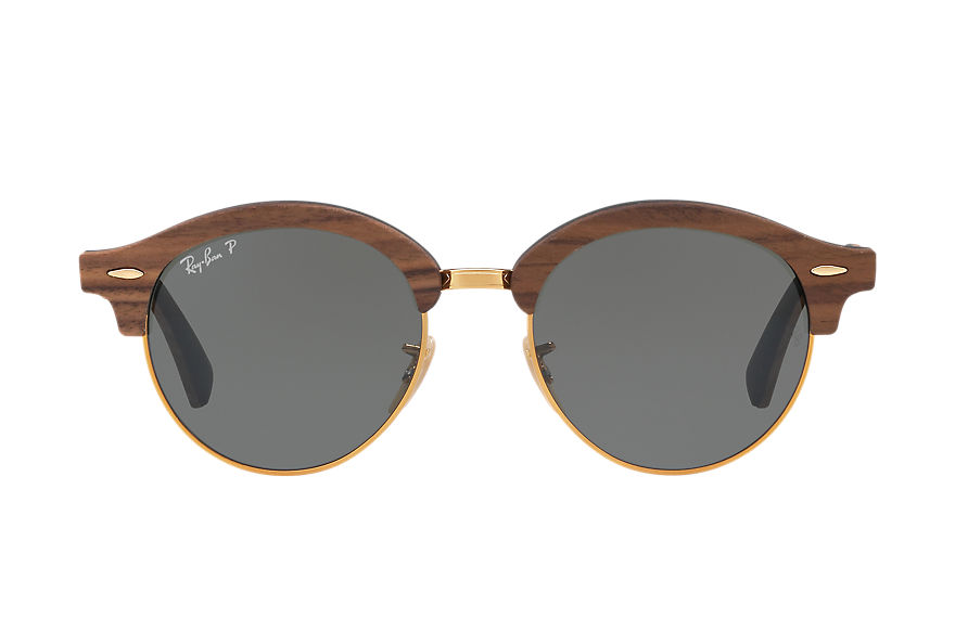 Ray-Ban Sunglasses CLUBROUND WOOD Brown with Green Classic G-15 lens