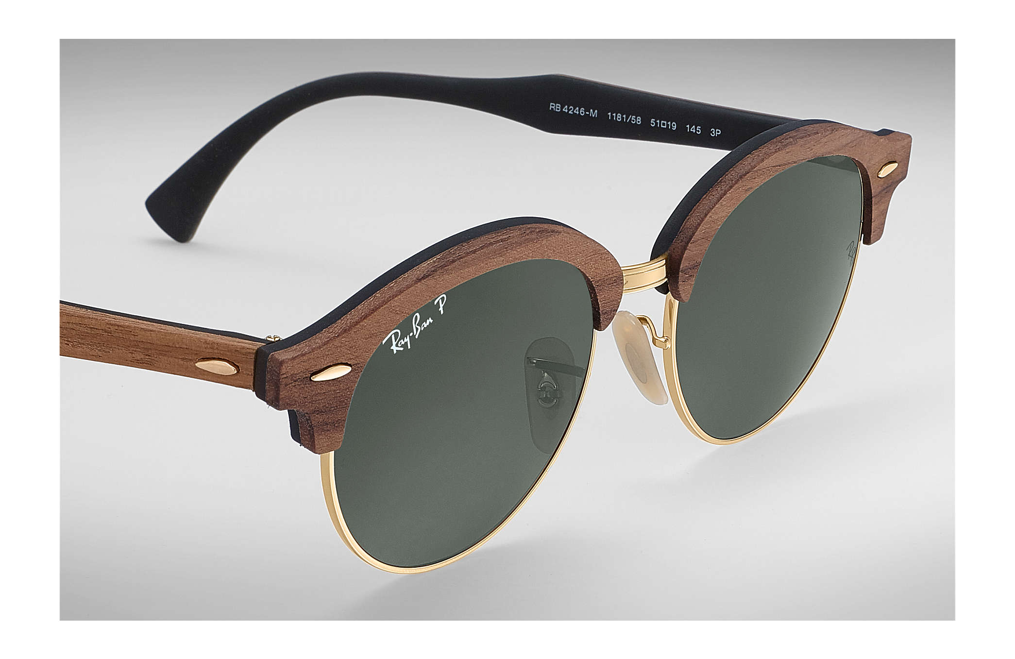 336497e544 Ray-Ban Clubround Wood RB4246M Brown - Wood - Green Polarized Lenses ...