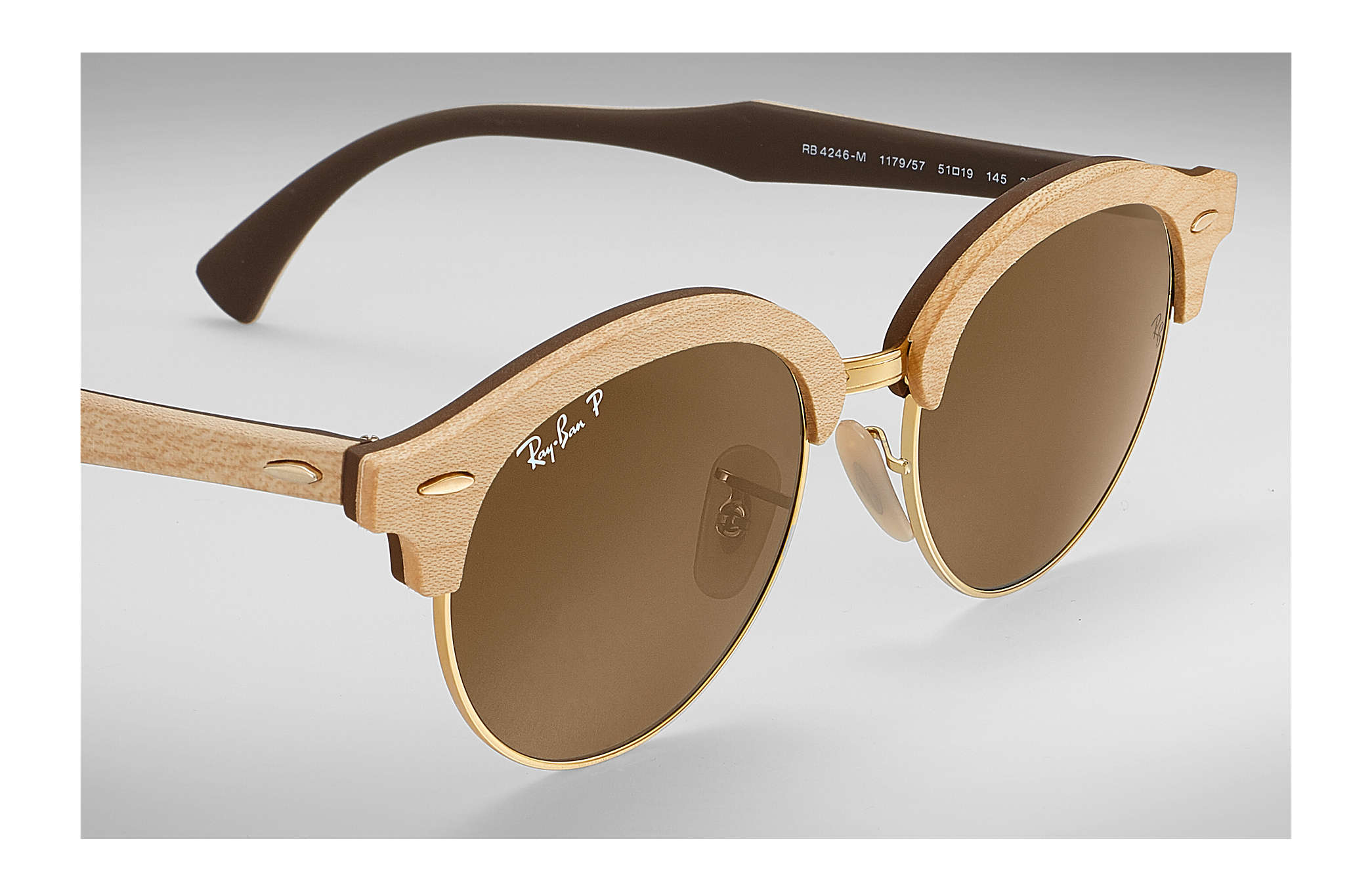 406362585 Ray-Ban Clubround Wood RB4246M Brown - Wood - Brown Polarized Lenses ...