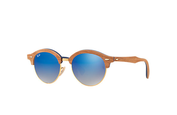 Ray-Ban 0RB4246M-CLUBROUND WOOD Brown,Gold; Brown,Blue SUN