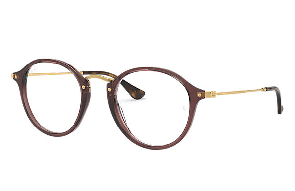 Ray-Ban 0RX2447V-ROUND FLECK Marron; Or OPTICAL