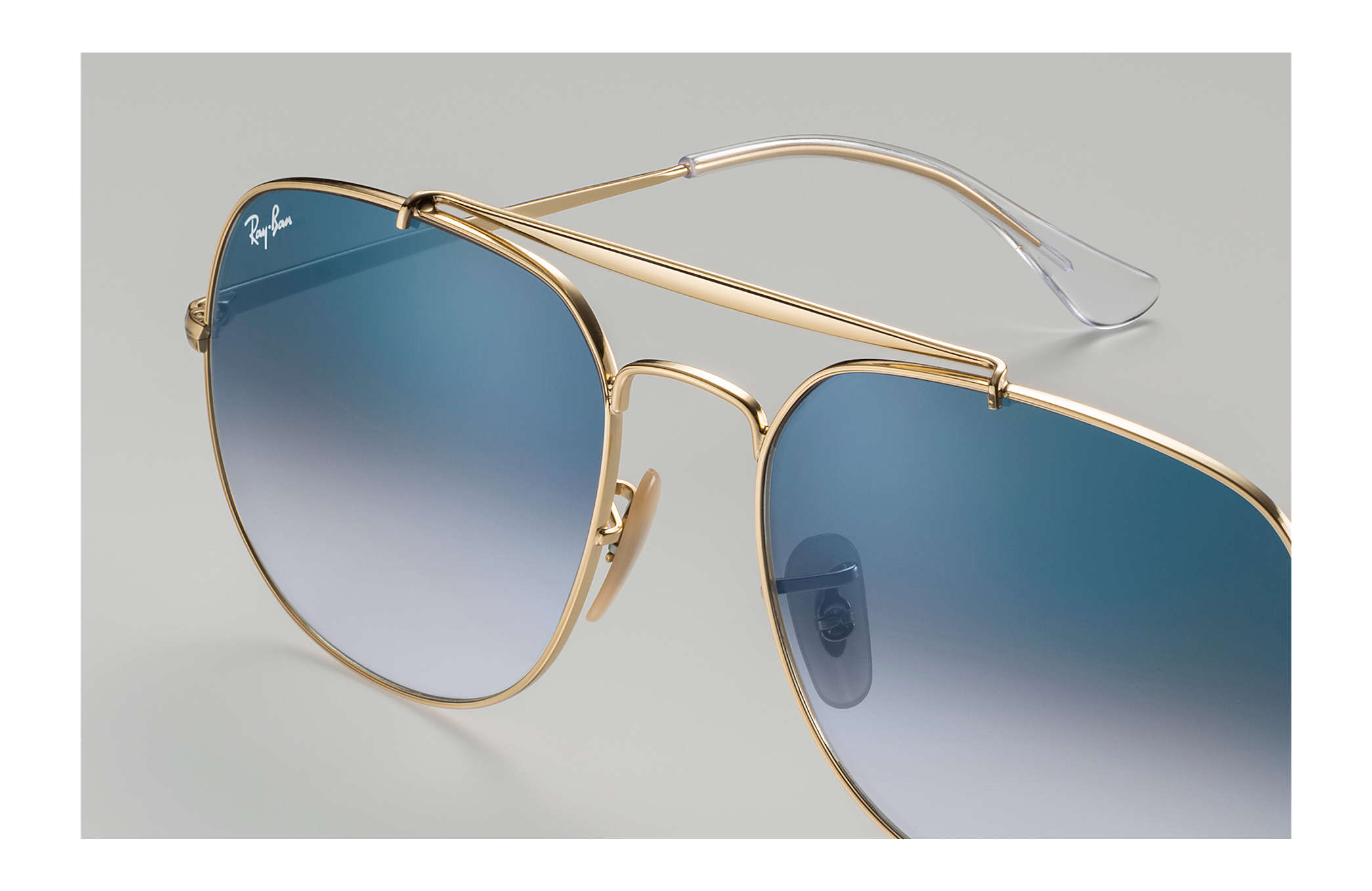 d75623ae61986 Ray-Ban General RB3561 Gold - Metal - Light Blue Lenses - 0RB3561001 ...