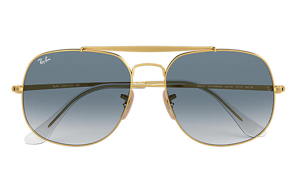 355002e21e591 Ray-Ban General RB3561 Gold - Metal - Light Blue Lenses - 0RB3561001 ...