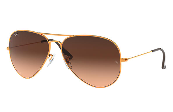 Ray-Ban Aviator Gradient RB3025 Gold - Metal - Brown Lenses ... f7444d78341