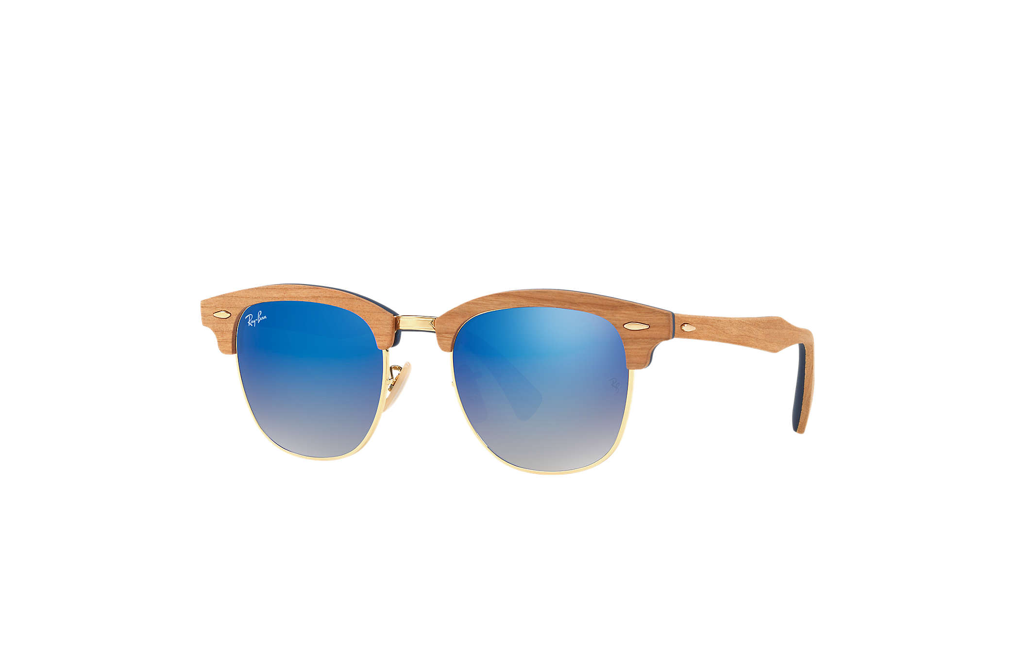 Ray-Ban Clubmaster Wood RB3016M Blue - Wood - Blue Lenses ... dea7f47262