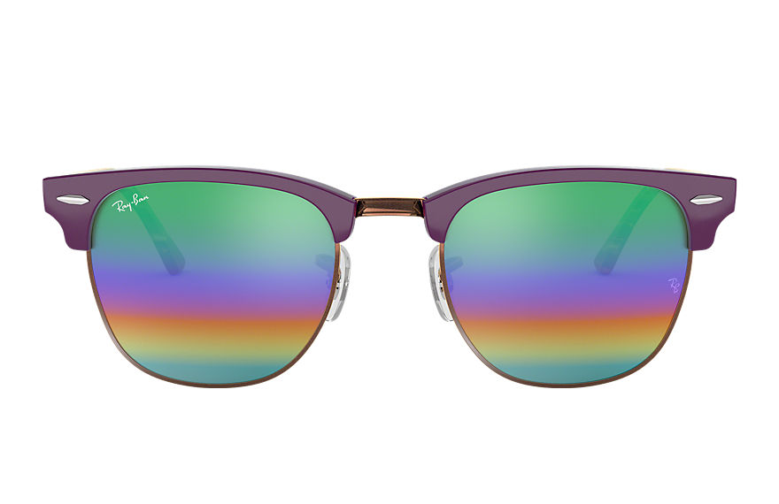 Ray-Ban Sunglasses CLUBMASTER MINERAL FLASH LENSES Violet with Green Rainbow Flash lens