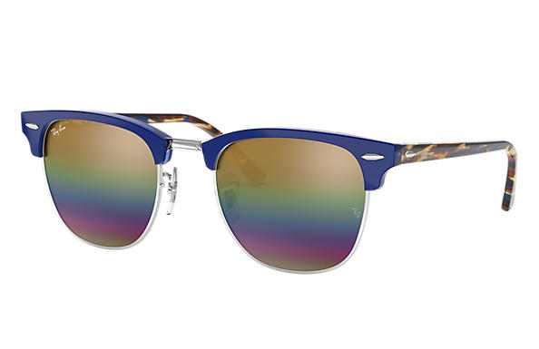 Ray-Ban Sunglasses CLUBMASTER MINERAL FLASH LENSES Blue with Gold Rainbow Flash lens