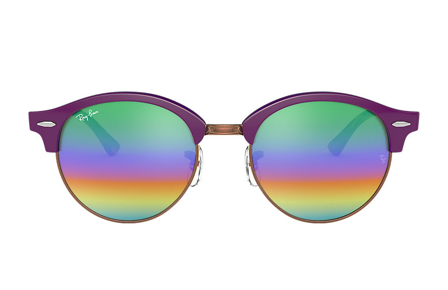 Ray-Ban Sunglasses CLUBROUND MINERAL FLASH LENSES Violet with Green Rainbow Flash lens