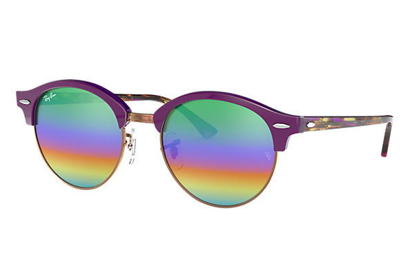 Ray-Ban		 CLUBROUND FLASH LENSES Violet met brillenglas Green Rainbow Flash