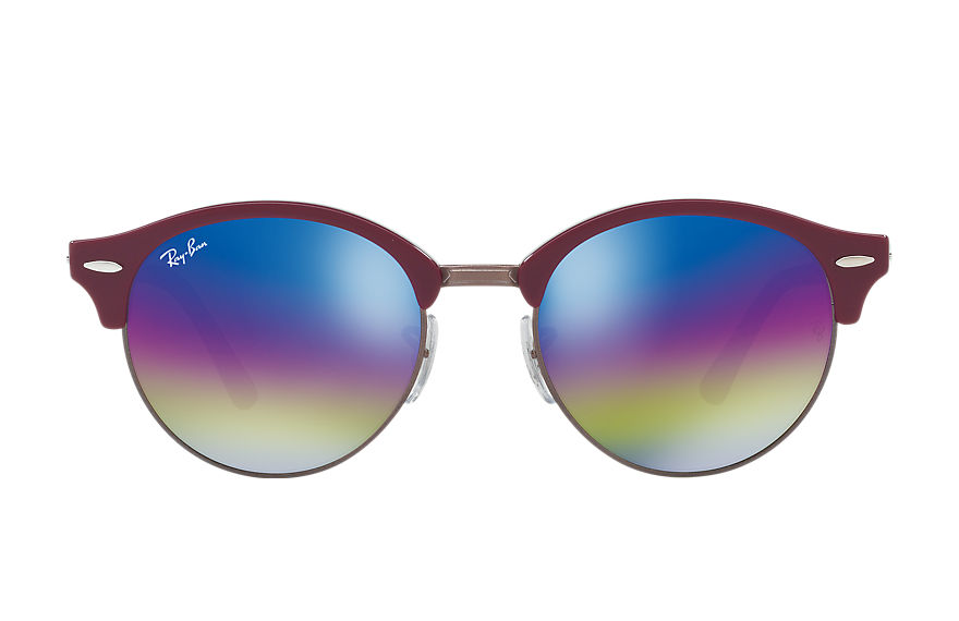 Ray-Ban Sunglasses CLUBROUND MINERAL FLASH LENSES Blue with Gold Rainbow Flash lens