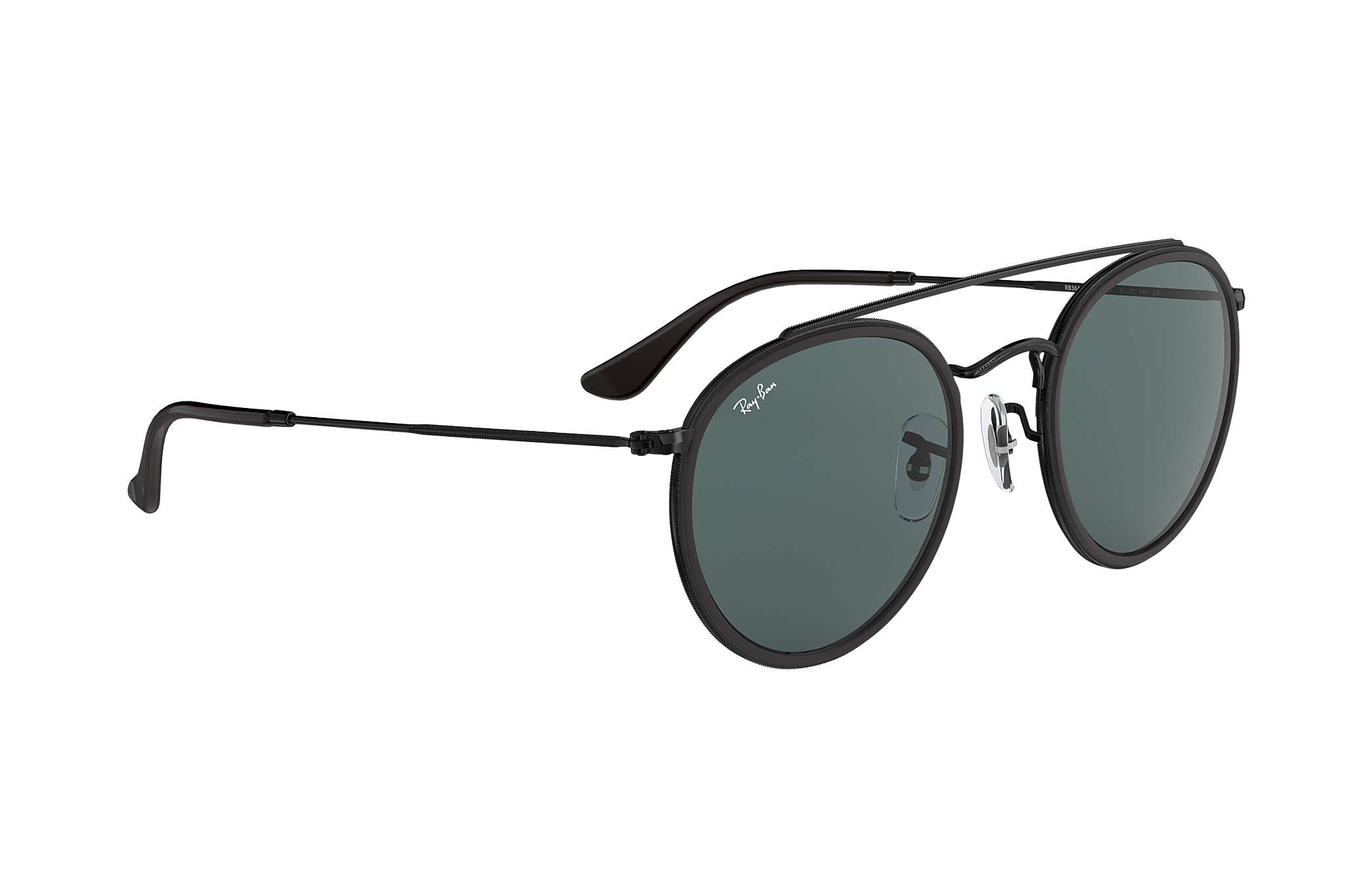cceed4c900745 Ray-Ban Round Double Bridge RB3647N Black - Metal - Blue Gray Lenses ...
