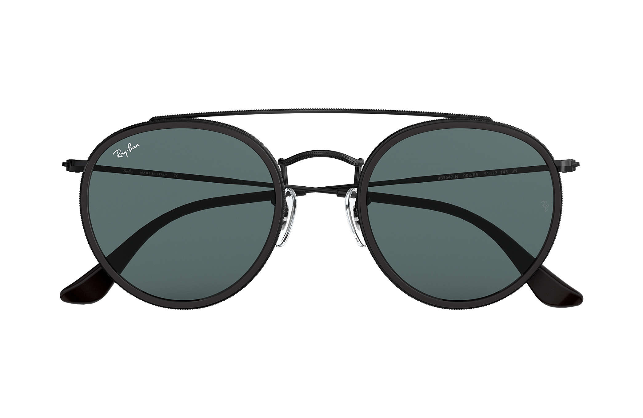 Ray-Ban Round Double Bridge RB3647N Black - Metal - Blue Gray Lenses ... b5bf228475