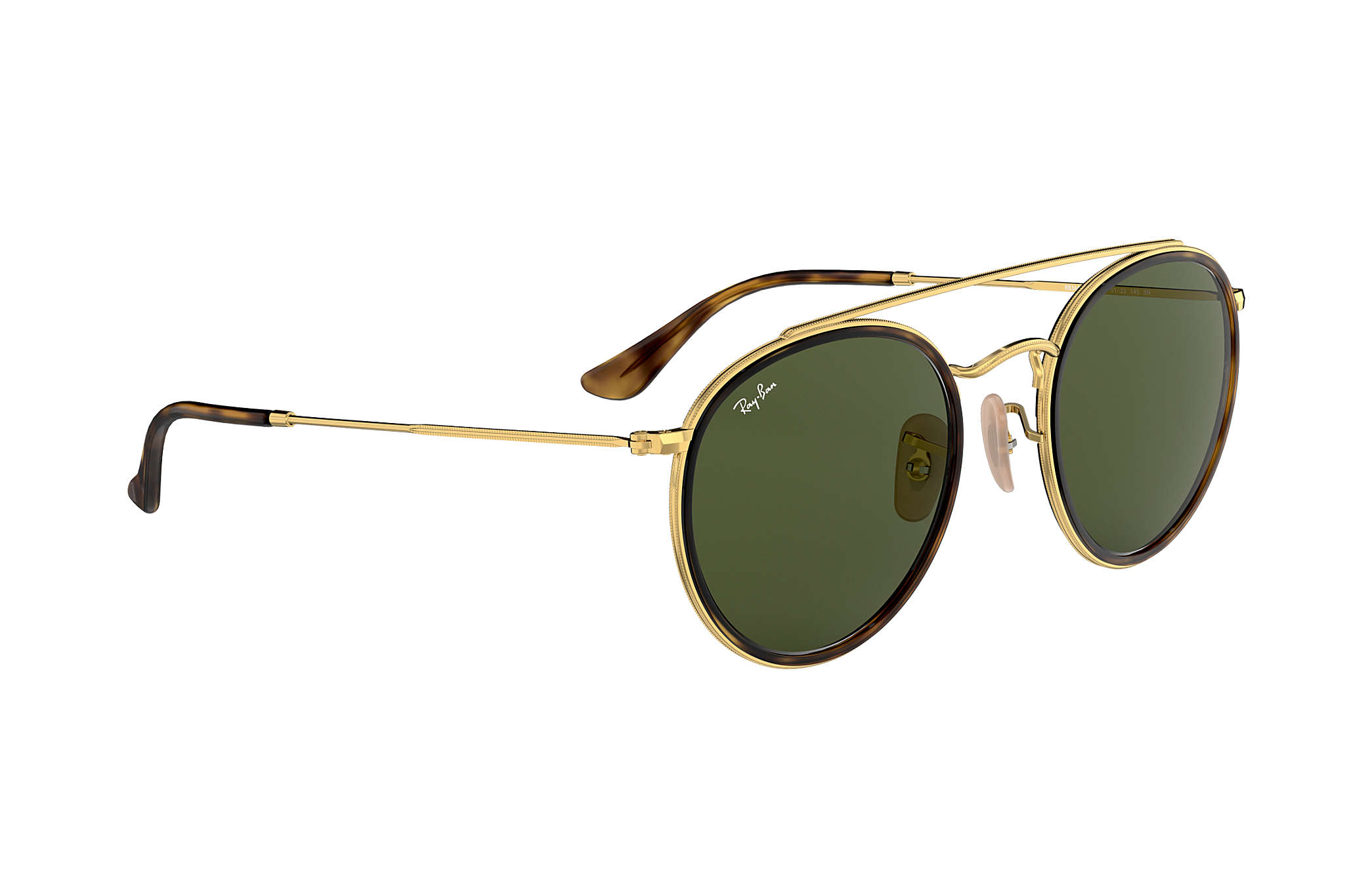 Ray-Ban Round Double Bridge RB3647N Gold - Metal - Green Lenses ... f9b683a66e