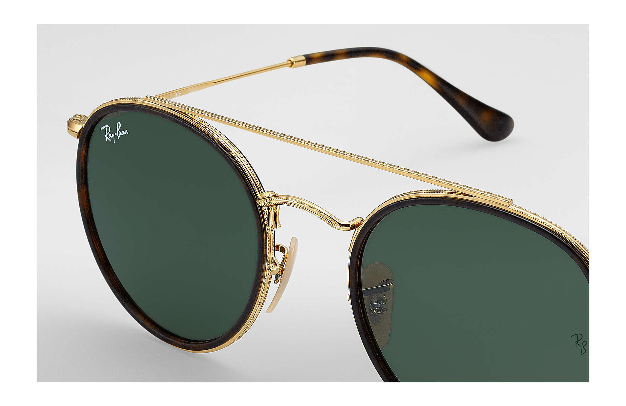 a2d77aa36 Ray-Ban Round Double Bridge RB3647N Gold - Metal - Green Lenses ...