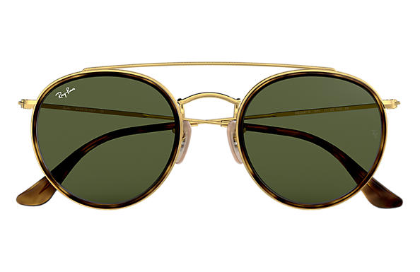 Ray-Ban ROUND DOUBLE BRIDGE Gold with Green Classic G-15 lens