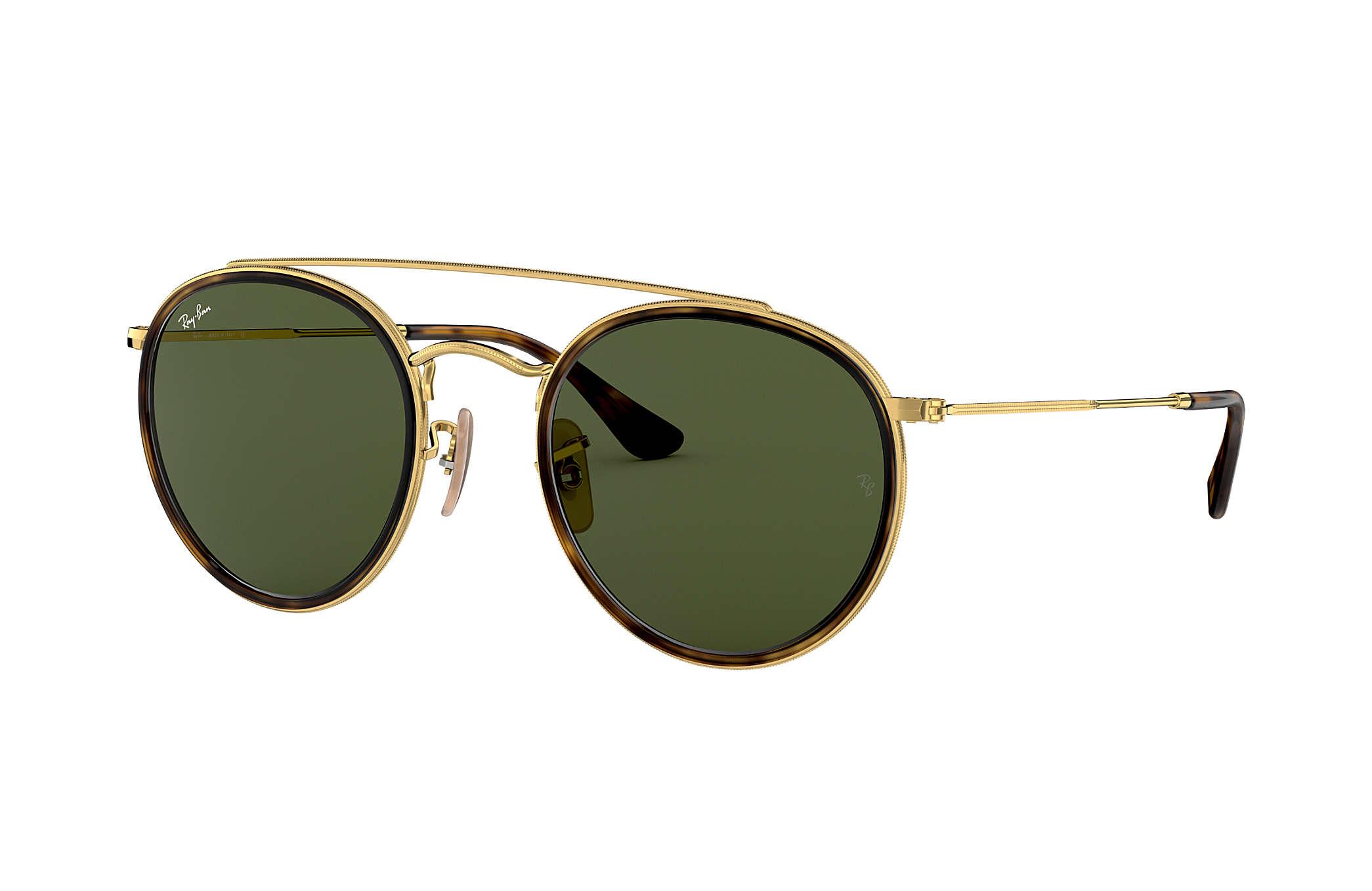 90366b774462 Ray-Ban Round Double Bridge RB3647N Gold - Metal - Green Lenses ...