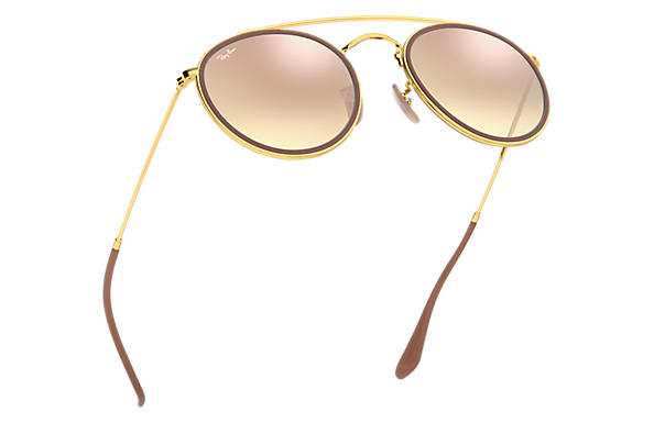 Ray-Ban Round Double Bridge RB3647N Gold - Metal - Copper Lenses ... 81cac05c5b
