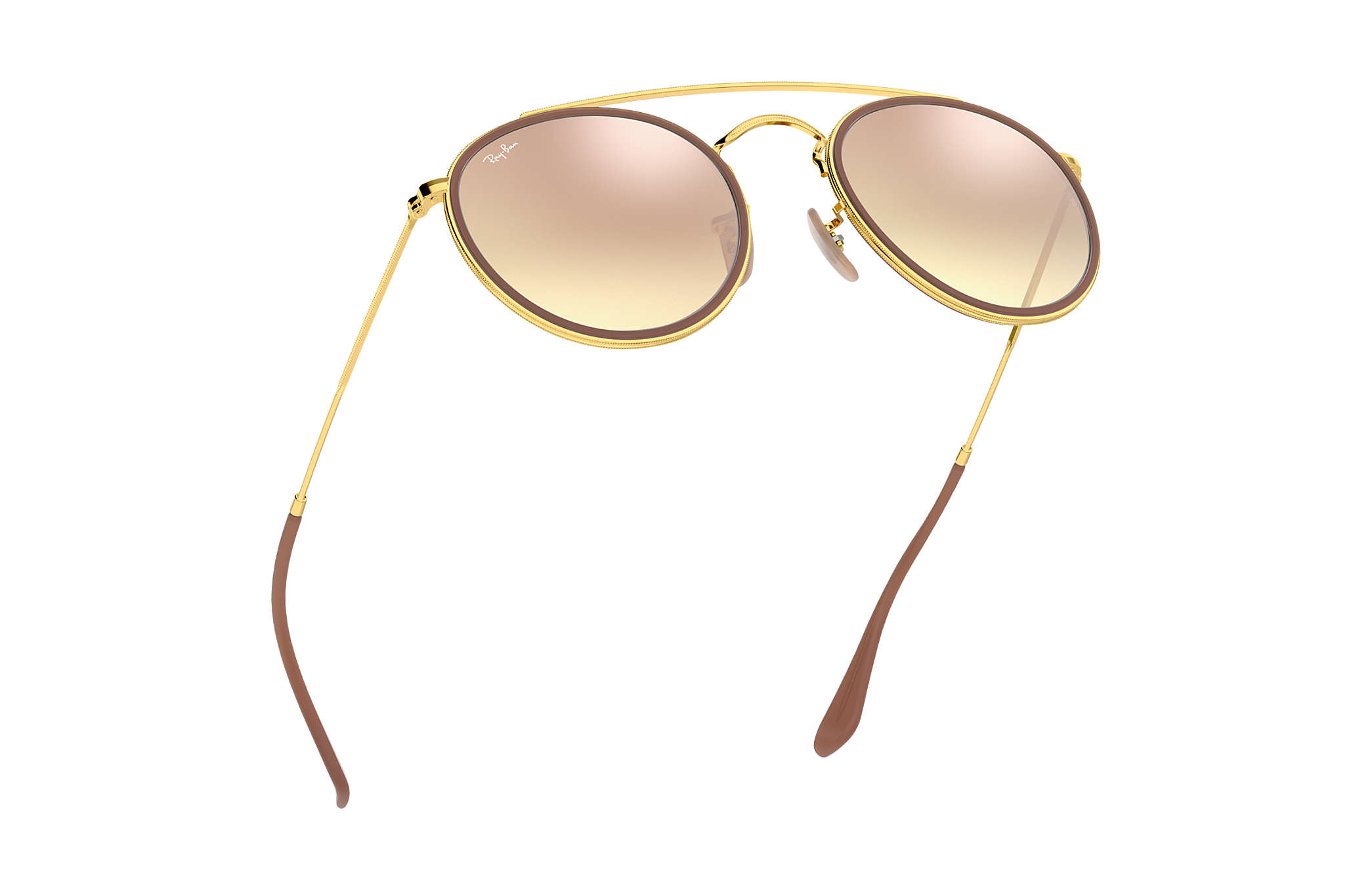 a6b78210a20 Ray-Ban Round Double Bridge RB3647N Ouro - Metal - Lentes Cobre ...