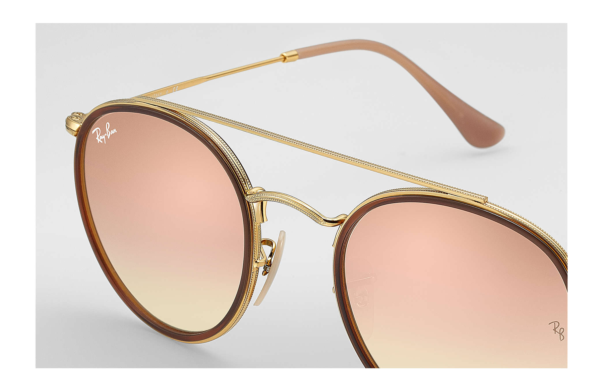 Ray-Ban Round Double Bridge RB3647N Ouro - Metal - Lentes Cobre ... 474bd76970