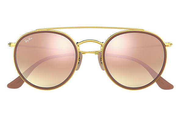 f2b9272644e07 Ray-Ban Round Double Bridge RB3647N Ouro - Metal - Lentes Cobre ...