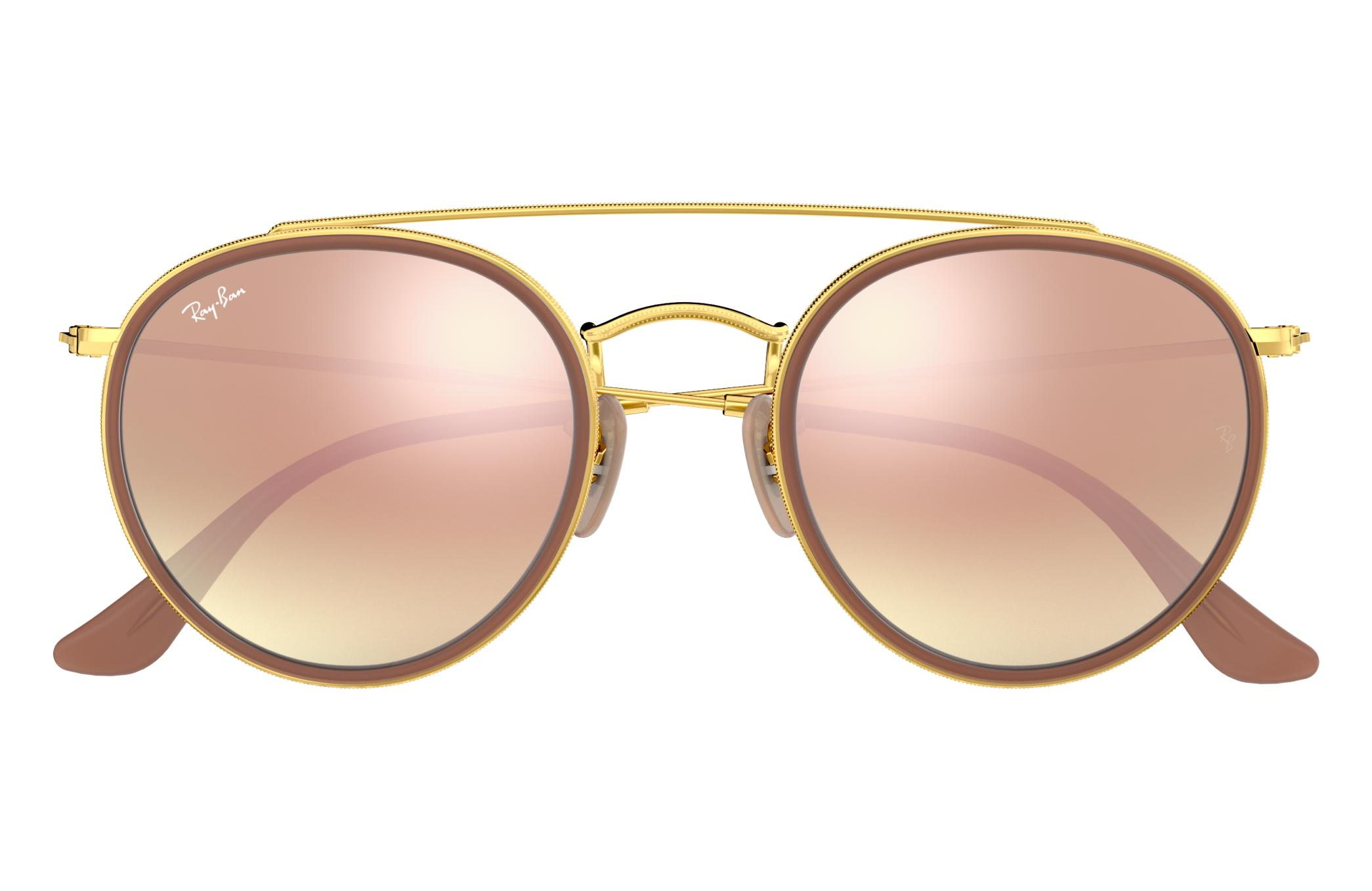 bbeb2b67690a3 Ray-Ban Round Double Bridge RB3647N Ouro - Metal - Lentes Cobre ...
