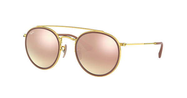 7d21d3be48 Ray-Ban Round Double Bridge RB3647N Gold - Metal - Copper Lenses -  0RB3647N001 7O51
