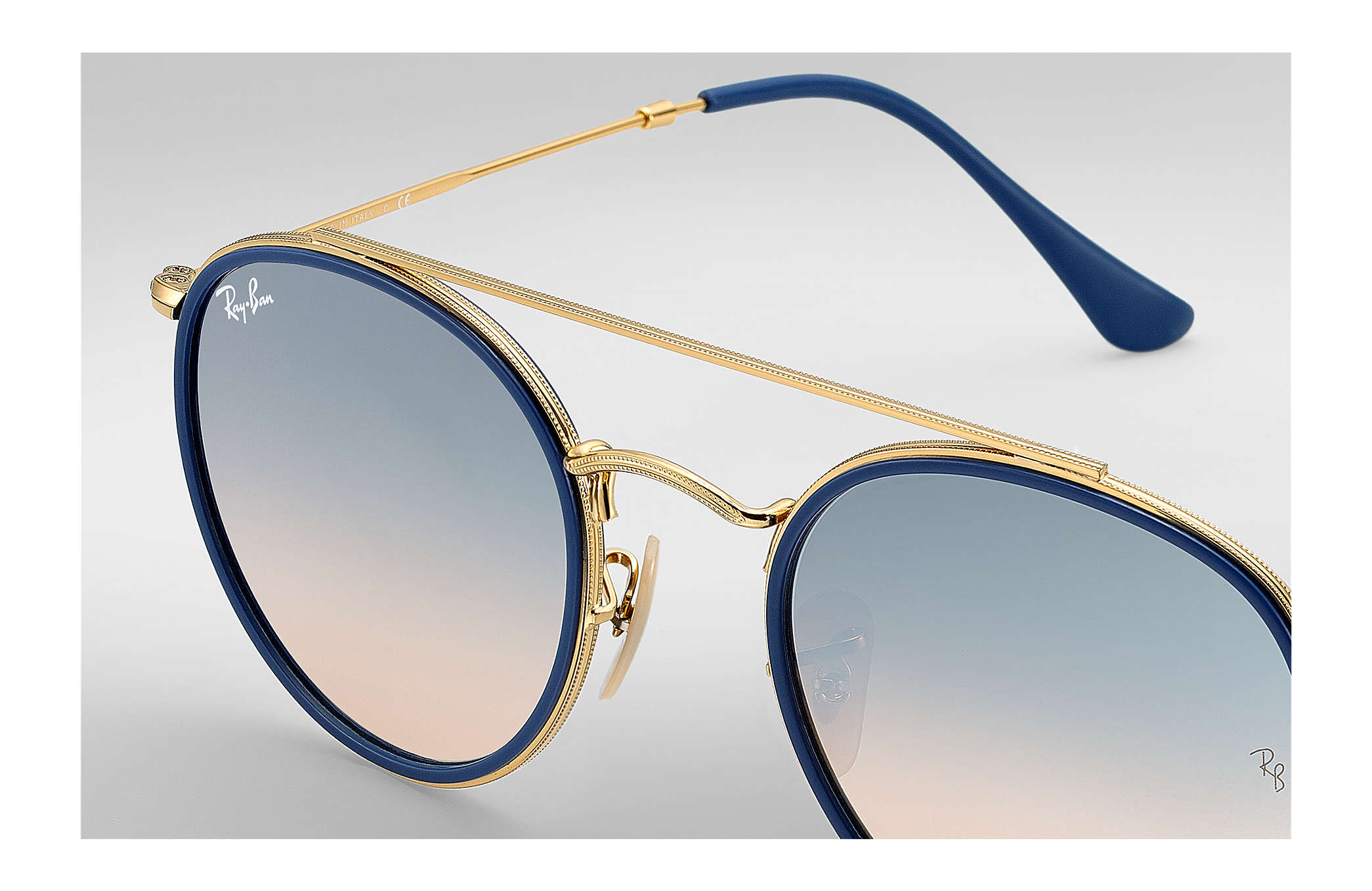 aa9f74fd3 Ray-Ban Round Double Bridge RB3647N Gold - Metal - Silver Lenses ...
