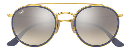 Ray-Ban ROUND DOUBLE BRIDGE Goud met brillenglas Zilver Gradiënt Flash