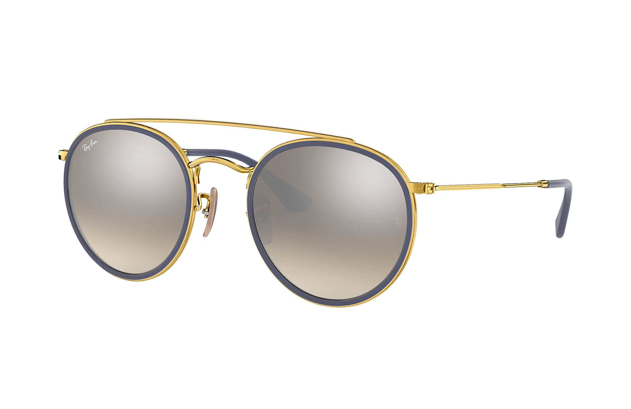 29f9ff32f8db1f Round Double Bridge Ray-Ban RB3647N Or - Métal - Verres Argent ...