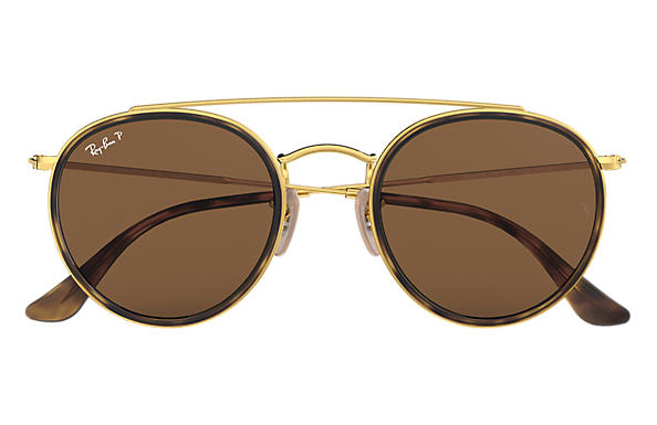 1adaf166e6f Ray-Ban Round Double Bridge RB3647N Gold - Metal - Brown Polarized ...