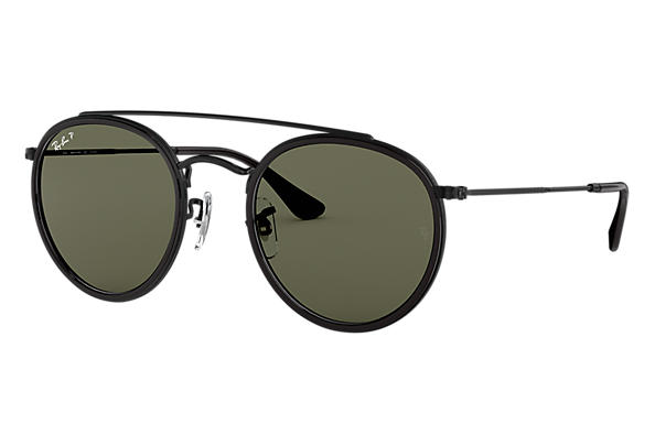 Ray-Ban Sunglasses ROUND DOUBLE BRIDGE Polished Black with Green Classic G-15 lens