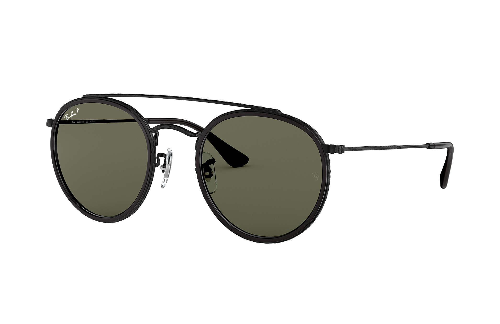 Ray-Ban Round Double Bridge RB3647N Black - Metal - Green Polarized ... 2e8ced1272d46
