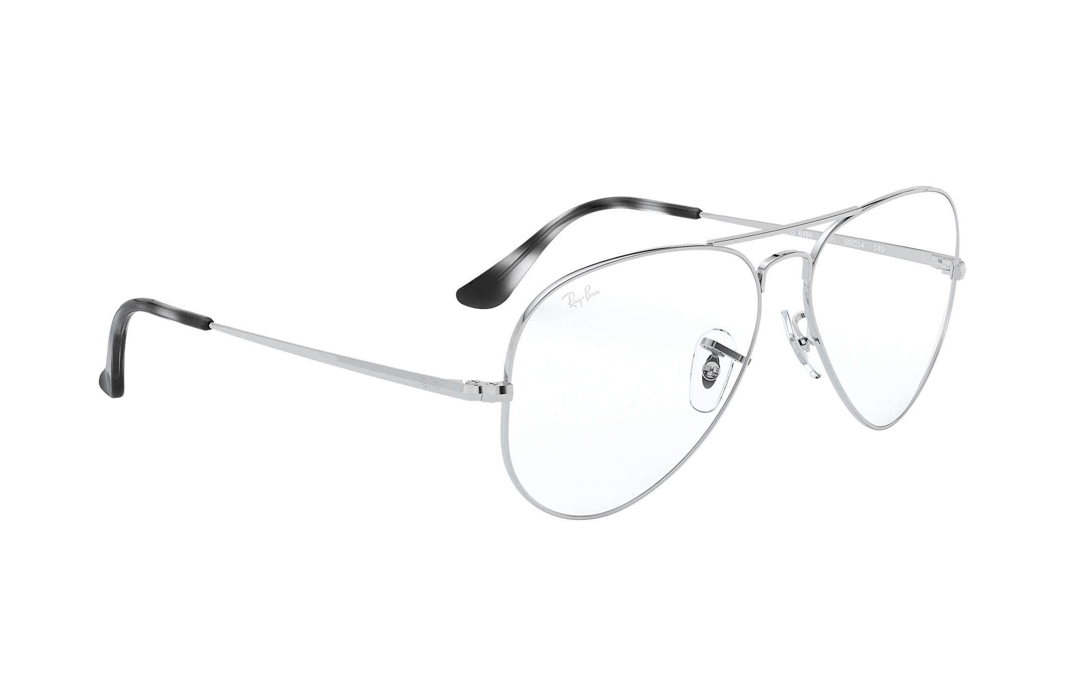 Ray-Ban prescription glasses Aviator Optics RB6489 Silver - Metal ...