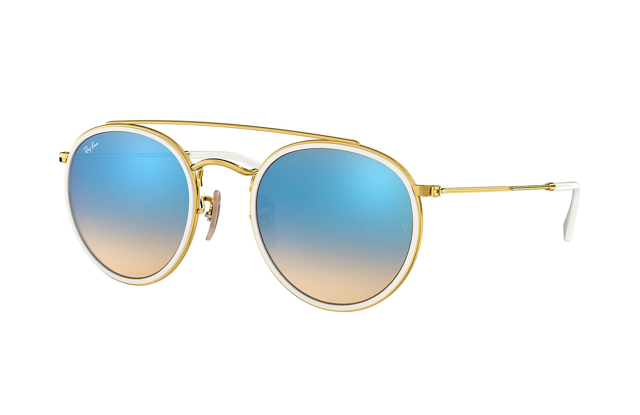 16dccb9f897 Ray-Ban Round Double Bridge RB3647N Gold - Metal - Blue Lenses ...